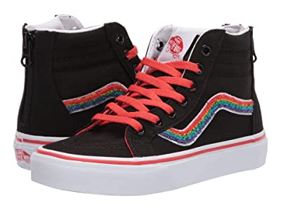 Vans Kids Sk8-Hi Zip (Little Kid) ((Chenille) Rainbow/True White) Girls Shoes
