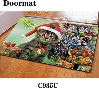 HUGS IDEA Christmas Kitten Doormat Entrance Floor Mats Indoot/Outdoor/Front Door/Bathroom Rugs, Golden Retriever