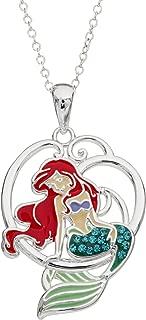 Disney Little Mermaid Ariel Silver Plated Crystal Pendant, 18