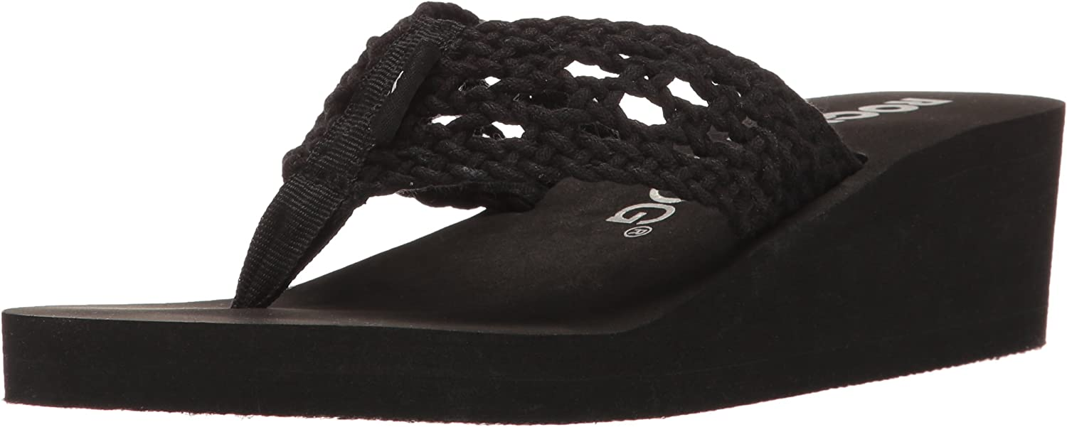 Rocket Dog Womens Aviara Stapleton Cotton Rope Wedge Flip Flop