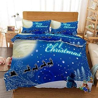 XLLJA påslakanset 2 personer, sängklädesset i 3D-julserien, påslakan och kuddöverdrag, enkel, dubbel, drottning, kunglig ...