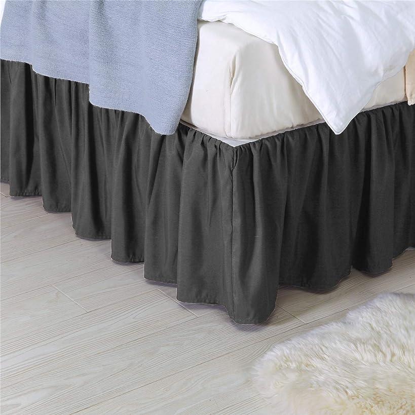 せがむワゴンその他Wiseelife ダスト フリル付きベッドスカート 14インチ 簡単フィット ベッドラップ 不織布付き フル グレー