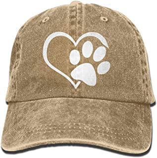 JINGJQINGCAO Men's/Women's Animal Lover Dog Paw Cotton Denim Baseball Cap Adjustable Hat