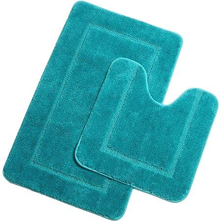Pauwer Microfibre Set de Tapis Toilette Antidérapant Absorbants Lavable Tapis de Bain et Contour WC , Turquoise, 53 x 86 cm+50 x 50 cm