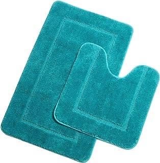 Pauwer Microfibre Set de Tapis Toilette Antidérapant Absorbants Lavable Tapis de Bain et Contour WC , Turquoise, 53 x 86 c...