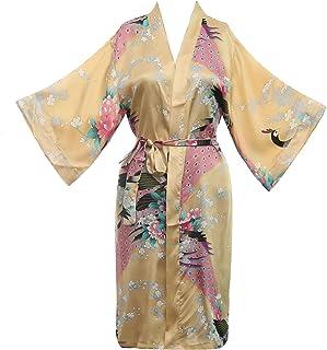 4dbd6d8645 missfashion Women s Kimono Robe Peacock   Blossoms Satin Nightwear