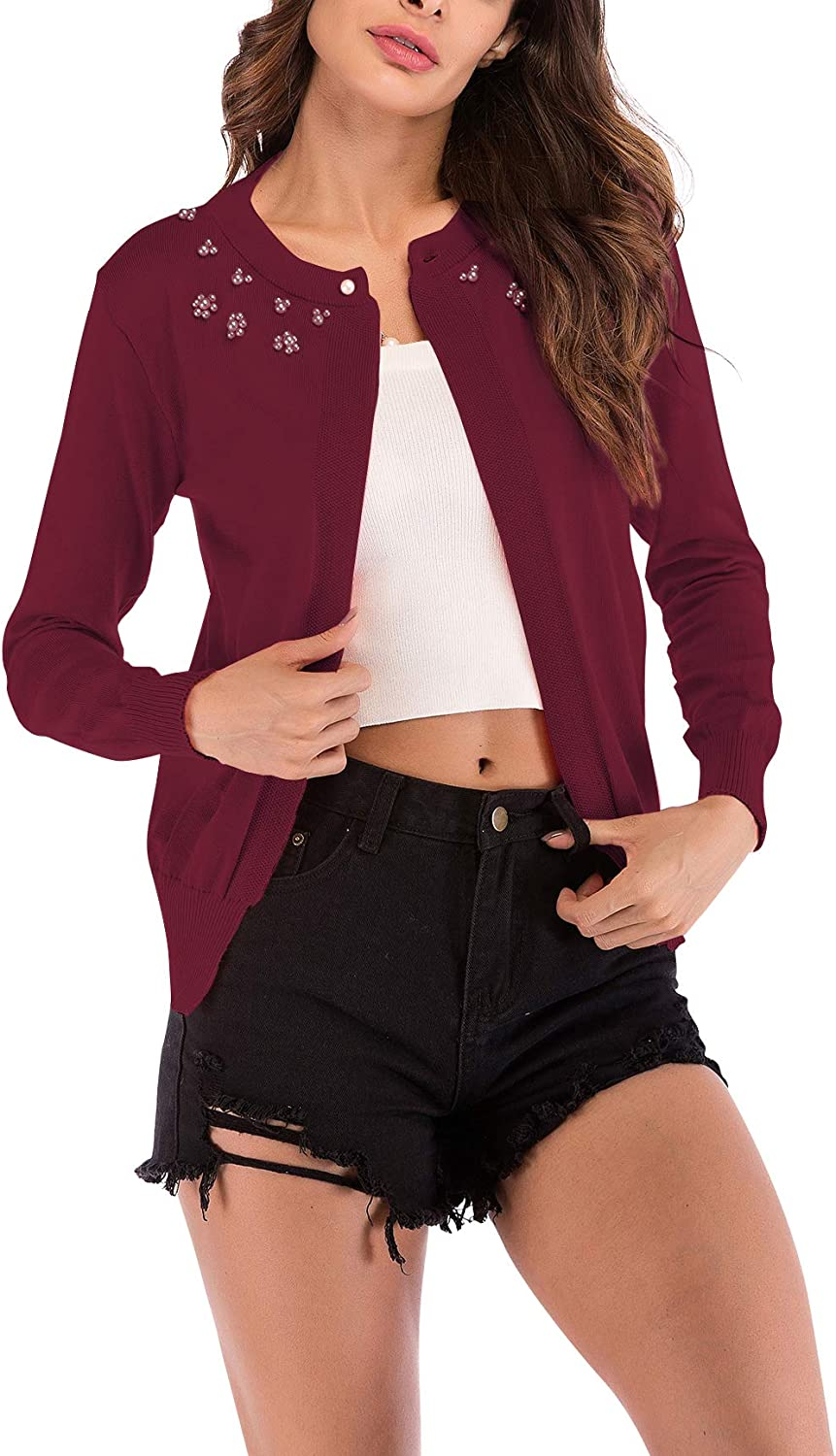 YAOMEI Womens Knitted Cardigan Bolero Shrug Casual Long Sleeves Open Front Jacket Sweater Beading Tops for Autumn