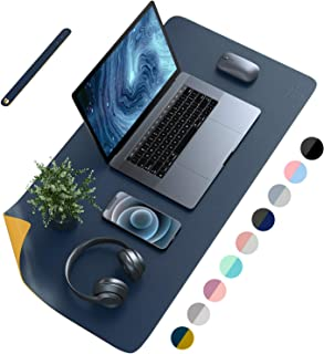 AFRITEE Desk Pad Protector Mat - Dual Side PU Leather Desk Mat Large Mouse Pad Waterproof Desk Organizers Office Home Tabl...
