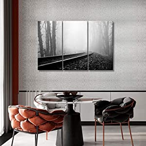 3 Pieces Canvas Wall Art - Railway Through The Pine Forest with Mist - Modern Home Decor Contemporary Living Room Wall Art Railroad Tracks Pictures Print On Canvas Framed Ready to Hang, 42x28inch