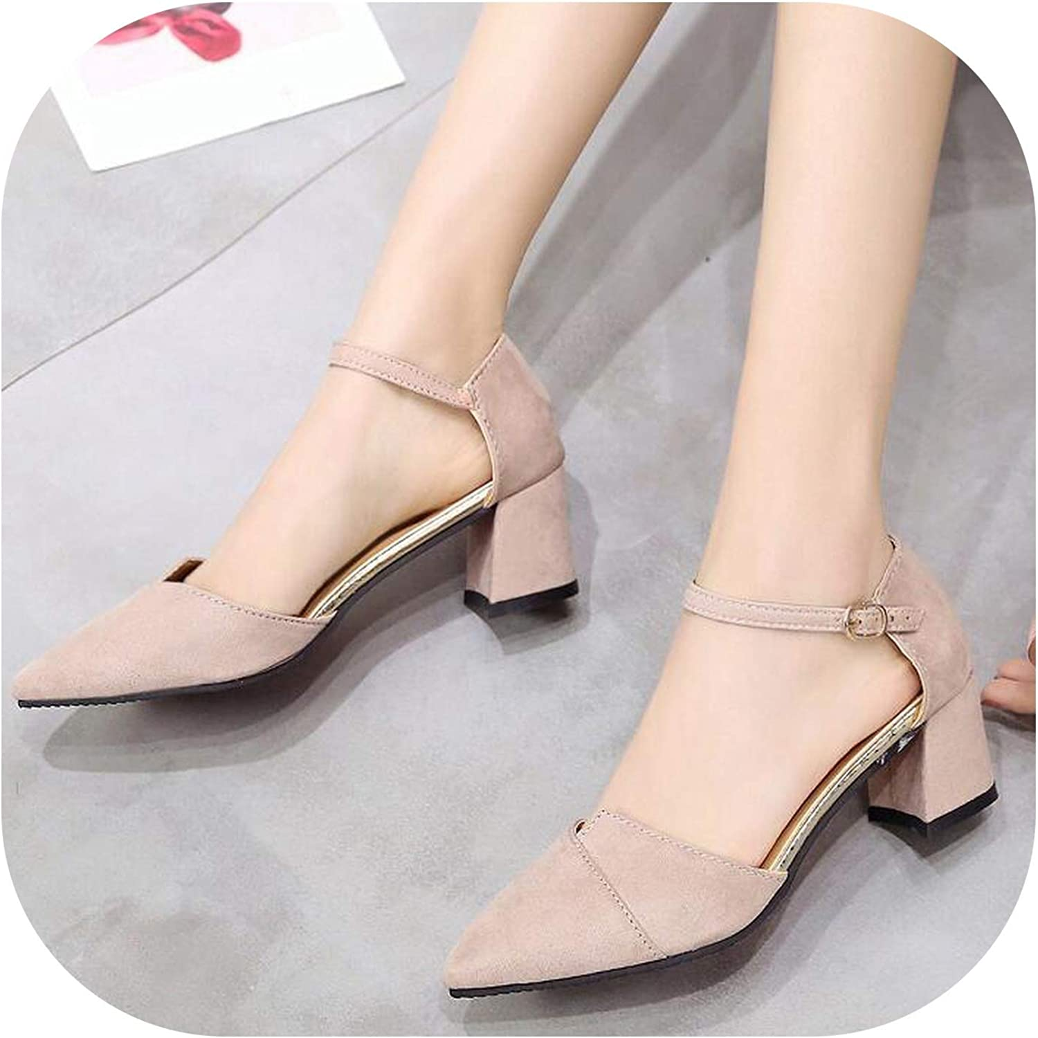 Gooding Day High Heels Women Ankle Thick Heels Ladies Party Black Beige Pink shoes Buckle Ankle Strap Footwear