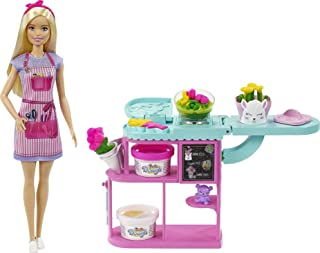 Barbie Florist Playset with 12-in Blonde Doll, Flower-Making Station, 3 Dough Colors, Mold, 2 Vases & Teddy Bear, Great Gi...