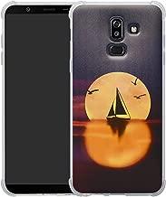 HHDY Samsung Galaxy J8 2018 Case,[Ultra Lightweight] Reinforced [4-Corners Bumper] Flexible TPU [Pattern Design] Cover for Samsung Galaxy J8 J810 2018 / On8 2018,Sailboats & Moon