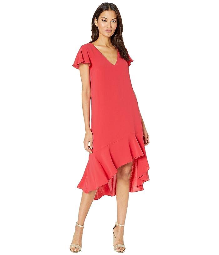 Adrianna Papell  Gauzy Crepe High-Low Dress (Hot Tomato) Womens Dress