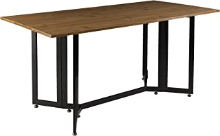 Driness Drop Leaf Console Dining Table - Weathered Oak w/ Black Metal Base - Seats 4 to 6