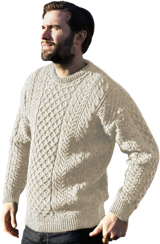 Carraig Donn 100% Pure Wool Aran Sweater, Oatmeal