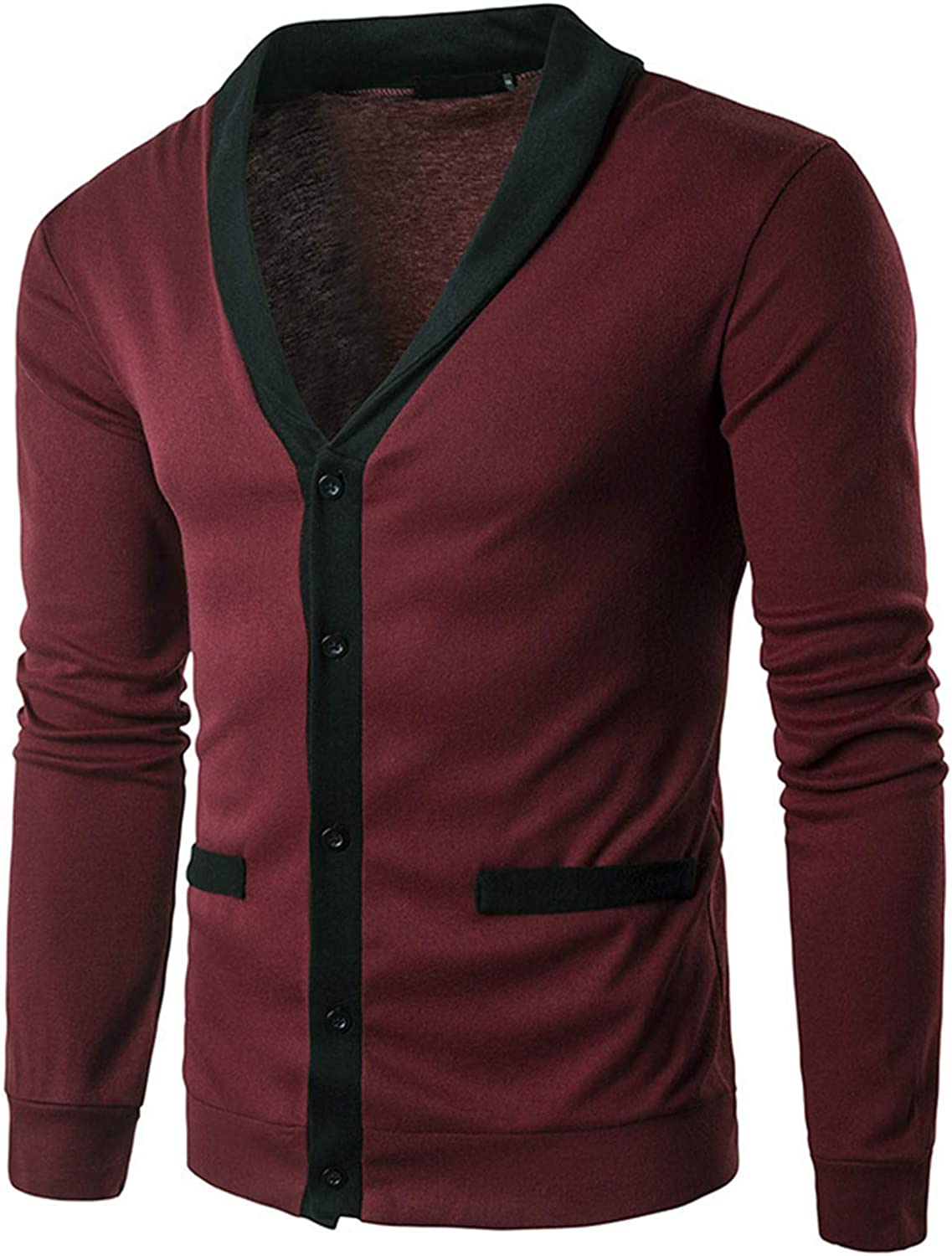 Soluo Men?s Cashmere Wool Blended Cardigan Sweater Relax Fit V-Neck Knitted Sweaters with Buttons & Pockets (Red Wine,Large)