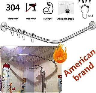 Sikaiqi Stretchable 304 Stainless L Shaped Bathroom Bathtub Corner Shower Curtain Rod Rack (27.55