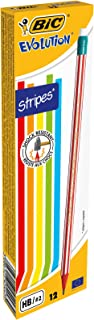 BIC Evolution 646HB Pencil with Eraser (Pack of 12In Assorted Colours