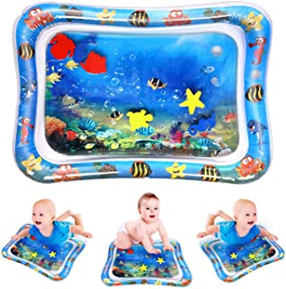 kids Inflatable Tummy Time Playmat Premium Water Mat Infants & Toddlers, Early Development (Blue)