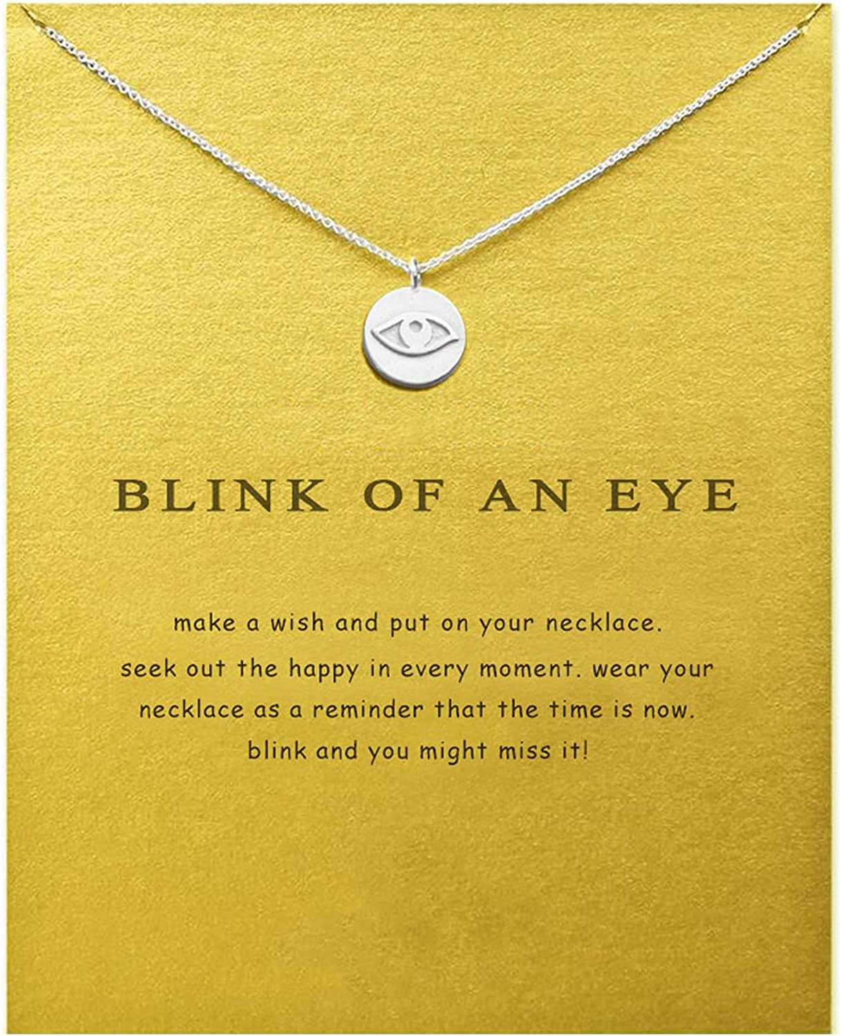 COLORFUL BLING Dainty Evil Eye Necklace with Message Wish Card Hamsa Fatima Hand Pendant Chain Necklace Good Luck Friendship Jewelry for Women Girls