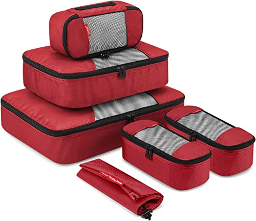 Travel Packing Cubes, Gonex Luggage Organizers Different Set - (L+M+3XS+Laundry Bag) Red - L+M+3XS+Laundry Bag
