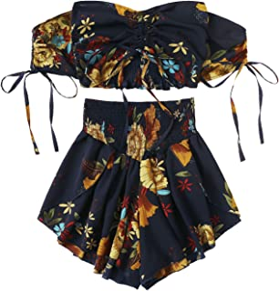 SheIn Women`s Boho Floral Two Piece Outfit Off Shoulder Drawstring Crop Top and Shorts Set