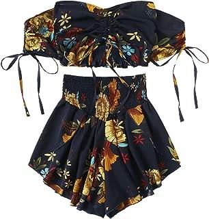 floral off shoulder outfit