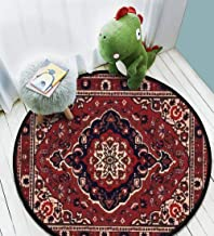 Persian carpet tribal vector texture Easy to edit and change a few Waterproof Non-slip Not Easy To Dirty Home Study Bedroom Home Decoration Beautiful And Generous Carpet Round Area Rug diameter 3.3ft