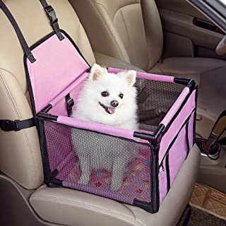 GENORTH Hund Autositz Dog Car Seat Rüsten Sie den tragbaren Deluxe Pet Car Booster Autositz mit aufsteckbarer Sicherheitsleine und Hundedecke auf, perfekt für kleine Haustiere