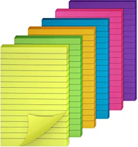 6 Pieces Sticky Notes Lined Self Sticky Notes Lined Colorful Lined Post Memos for Office, School and Home, 50 Sheets (Color Set 1, 4 x 6 Inch)
