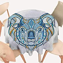 W Machine Sky Tropical Animals Christmas Tablecloth Tribal Patterned Head of Koala with Asian Ornate Motifs Australian Icon Image Round Tablecloth D 60