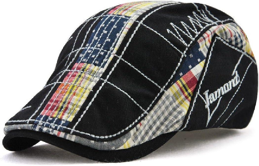 Men's Vintage Max 44% OFF Plaid Cotton Sun Fashionable Hat Newsboy Beret Visor Cap
