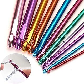 Toomett Lot de 11 aiguilles à tricoter en aluminium Multicolore 2 mm à 8 mm