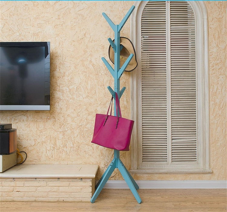 AJZGF,Coatrack Wooden Coat Stand Free Standing Creative Modern Cozy Coat Hanger Living Room Bedroom Office Hatstand (color   bluee -B)