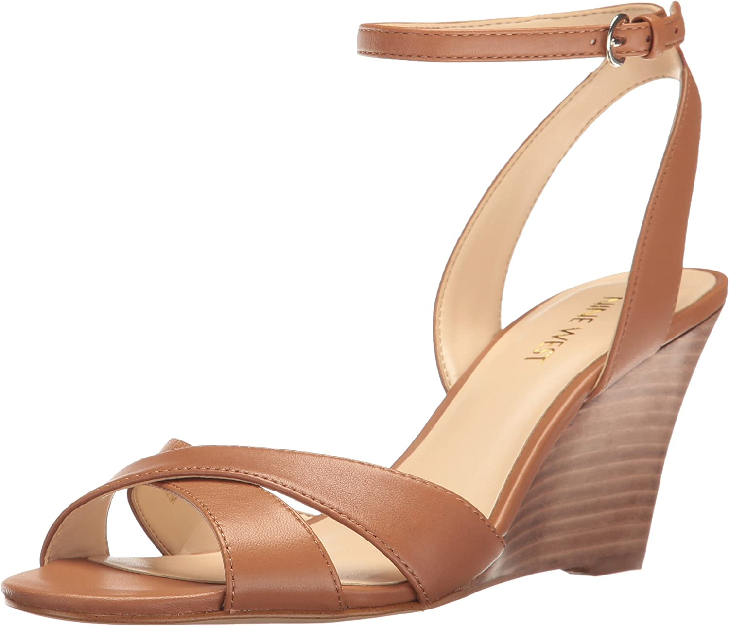 Nine West Womens Kami Leather Wedge Sandal