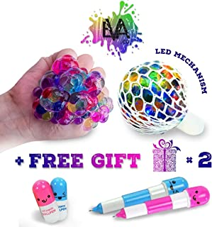 EVA.co Led Anti Stress Ball and Funny Pens - Squishy Light up Ball - Anti Stress Toy - Mesh Stress Ball - Grape Ball - DNA Ball - Slime Stress Ball - ADHD Fidget Toy
