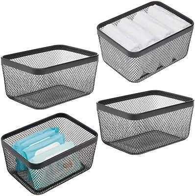 mDesign Flat Decorative Metal Bathroom Storage Organizer Bin Basket for Vanity, Towels, Cabinets, Shelves - Holds Sponges, Make-Up, Shampoo, Conditioner, Cosmetics, Hand Towels, 4 Pack - Black