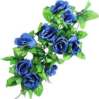 StillCool 8ft Rose Garland Artificial Rose Vine Silk Floral Flower Garland Green Leaf Flowering Vine Home Decor Wedding Decoration (Dark Blue)