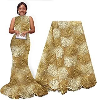 pqdaysun African Lace Fabrics 5 Yards 2019 Nigerian Lace French Beaded Tulle Fabric for Wedding Party (Gold)
