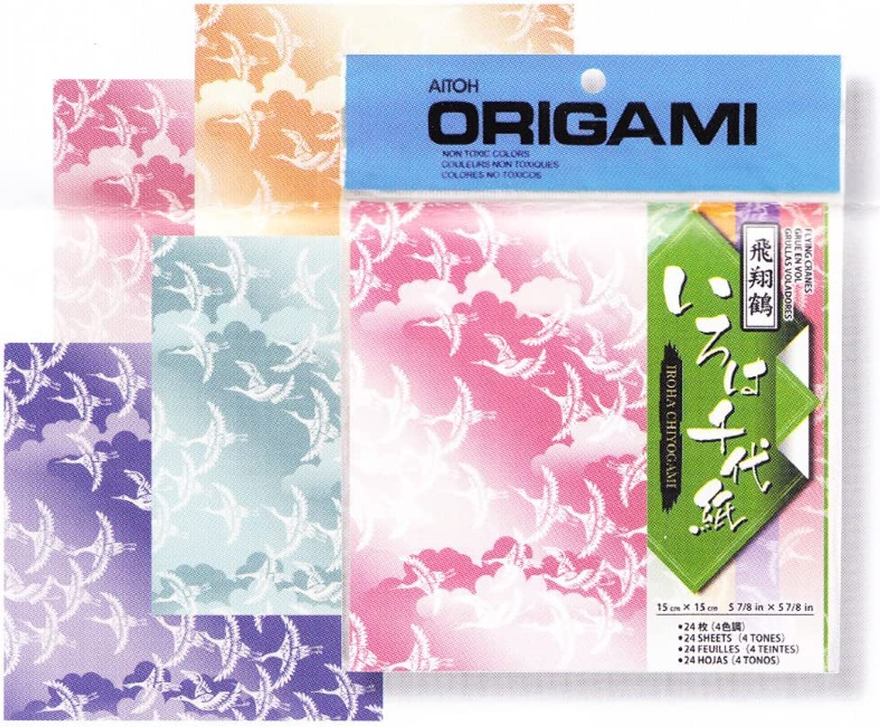 Aitoh Origami Iroha Chiyogami Paper 5 Large-scale sale 8 inch Squares Max 84% OFF 7 24 Shee