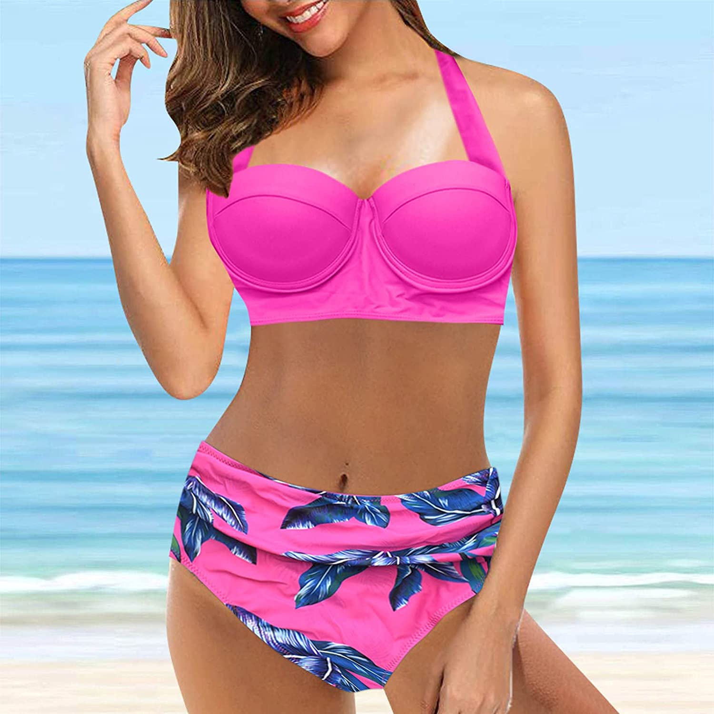 Tankini Bathing Suits for Women Vintage Push-Up Swimsuit Two Piece Retro Halter Ruched High Waist Bikini Set Swimwear