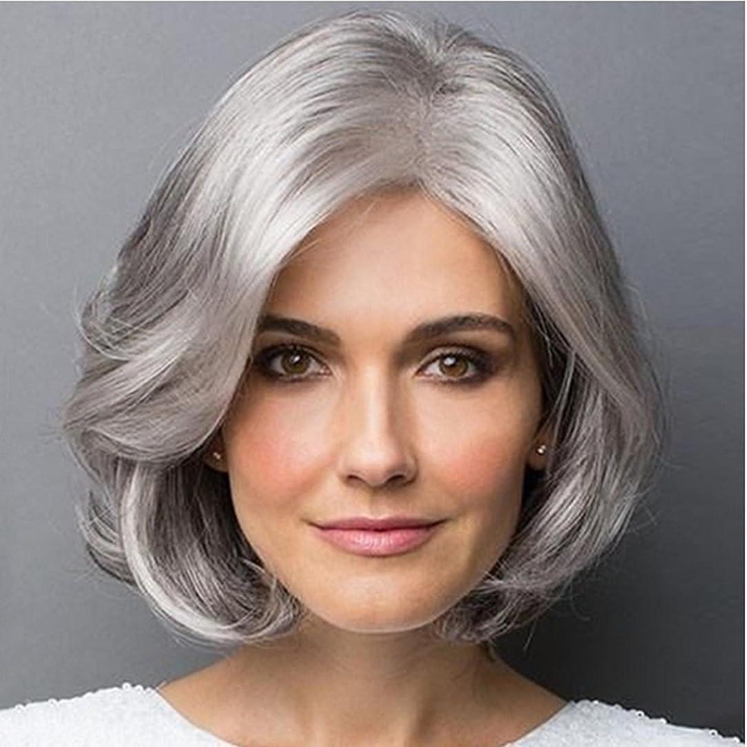 喜びエンジンペンスYOUQIU 斜め前髪マイクロボリュームかつら耐熱ファイバー20センチメートル/ 30センチメートル(シルバーグレー、グラデーションシルバーグレー)かつらと女性のショートヘアのための合成カーリーヘアウィッグ (色 : Silver gray)