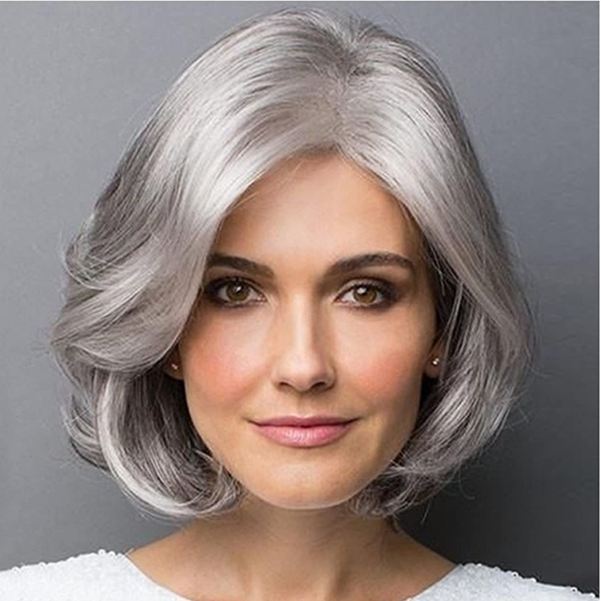 組み立てるプロフェッショナルほうきDoyvanntgo 女性のための合成のカーリーヘアウィッグ斜めのバンズ付きの短いヘアマイクロボリュームウィッグ耐熱繊維20cm / 30cm(シルバーグレー、グラデーションシルバーグレー) (Color : Silver gray)
