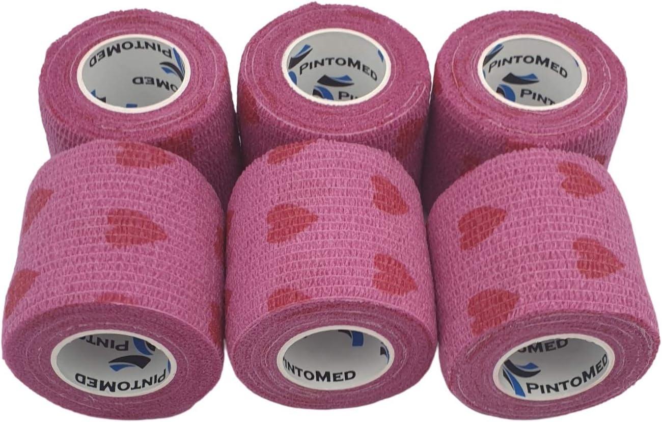Venda Cohesiva Rosa Love 6 rollos x 5 cm x 4,5 m autoadhesivo flexible vendaje, calidad profesional, primeros auxilios, lesiones de los deportes, rodillos embalados individualmente - Pack de 6
