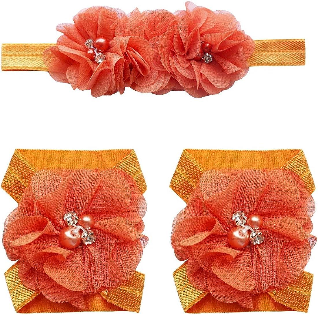 TiaoBug 20pcs Pack Baby Girls Flower Vintage Headbands Lot Elastic Hair Bow Headdress Grosgrain Ribbon Hair Accessories