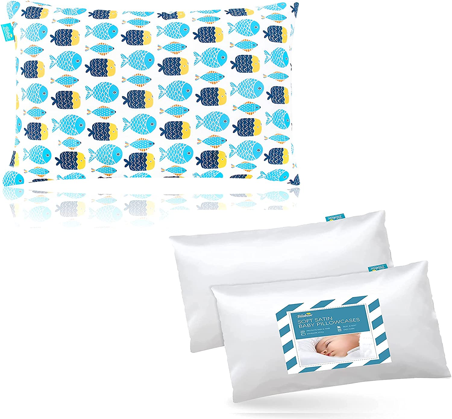 Kid Toddler Pillow Max 66% OFF for Sleeping Print Satin with Fish Toddle Price reduction