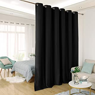 Deconovo Privacy Room Divider Curtain Thermal Insulated Blackout Curtains Extra Large Screen Partitions Room Darkening Panel for Patio Door, 10ft Wide x 9ft Tall 1 Panel Black