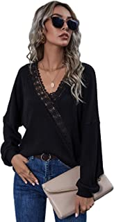 Floerns Women's V Neck Lace Trim Tie Back Long Sleeve Blouse Tops