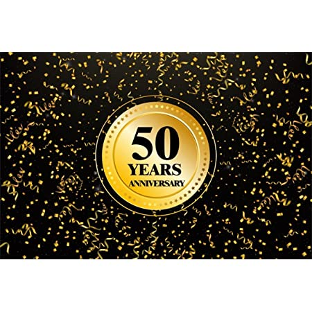 10x6.5ft Polyester 50th Anniversary Photography Background Golden Emblem Bokeh Haloes Black Backdrops Wedding Anniverary Company Shop Celebration Party Banner Photo Shooting Props Poster