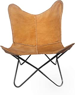 Vintage Natural Real Tan Leather Cover Arm Chair BKF Butterfly Chair Office Decor - Only Cover